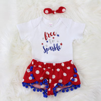 Girls 4th of July Outfit |Free to Sparkle Outfit Red and White Polka Dot Shorts with Blue Pom Pom Trim, knotted headband Miss America Top