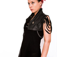 Futuristic leather bolero Black Custom Size by VENATRIXDESIGNS