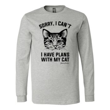 T-Shirt - Canvas Long Sleeve - Sorry I Can't, I Have Plans With My Cat