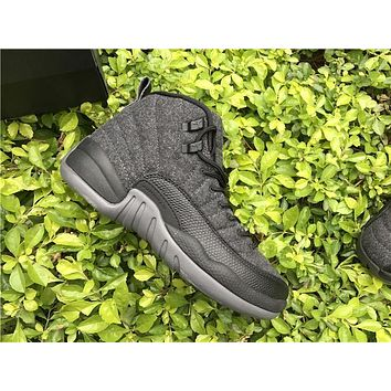Air Jordan 12 Retro Wool Dark Grey/Metallic Silver-Black AJ12 Sneakers