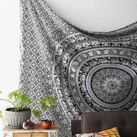 Magical Thinking Floral Elephant Tapestry- Black & White One