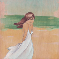 Original Art beach painting on wood girl in white dress