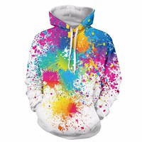 2017 Autumn Winter Cap Hoodies Men/women Hip Pop  Pullovers Print Paint Color Blocks Hoody 3d Graffiti Sweatshirts Sportwear
