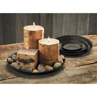 Wild Wings Bouquet Round Rustic Tin Tray Candle Pan