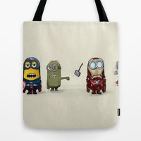 Minion Avengers Tote Bag by CforCel