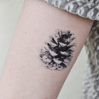 Pine Cone Temporary Tattoo Tattoo Temporary by JoellesEmporium