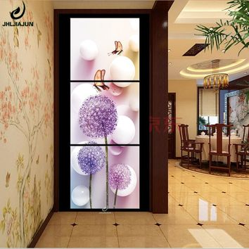 Vertical Triptych Paintings Modular Pictures Poster Flowers Home Decorations Canvas Art Prints Wall Panels For The Living Room