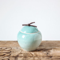 Beautiful handmade small jar with a handle from natural wood/mint color/ ceramic jar