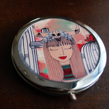 Antique Style Miror / Silver Compact Mirror / Whimsical Illustration / Original Art Accessory