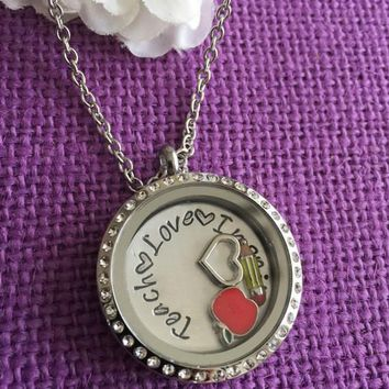 Teacher Gift - Teacher Necklace - Gift for Teacher - Custom Locket - Teacher Appreciation Gift - Personalized Locket Necklace - Cust