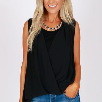 Asymmetrical Wrap Top Black