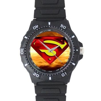 PEAPUG3 Super Hero Logos Superman Logo Custom Black Plastic High Quality Watch = 1946190980