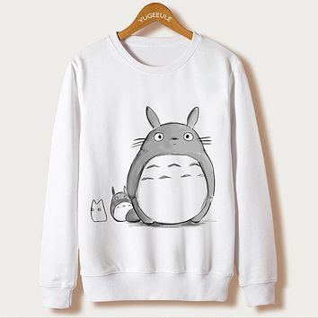 Totoro Cartoon Print Hoodies Women Clothing Autumn 2017 Casual Sweatshirt kawaii Femme Japanese Full Sleeve White O-neck Hooded