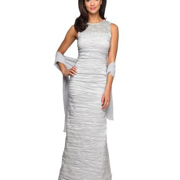 Alex Evenings - 166390 Illusion Lace Ruche-Textured Sheath Gown
