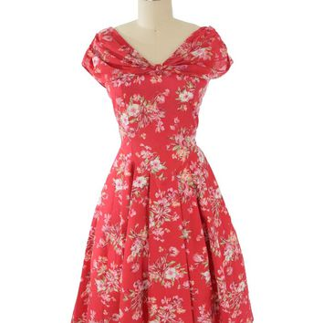 80s Laura Ashley Floral Garden Party Swing Dress