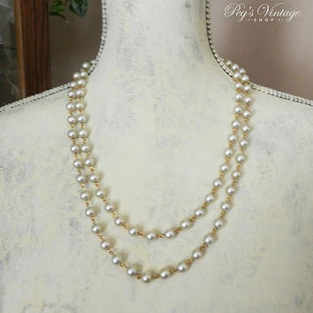 Double Strand Faux Pearl & Gold Necklace, Vintage Wedding / Bridal Jewelry