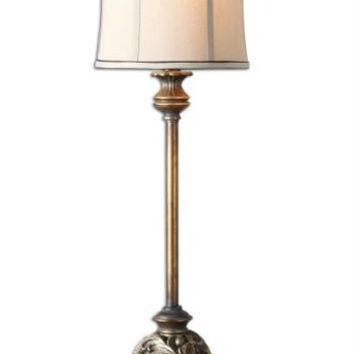 Buffet Table Lamp - Golden-bronze Body With Antiqued Silver-champagne Wash