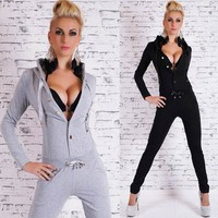 New Style rompers womens jumpsuit Free Shipping Sexy Hooded Solid Color Buttoned Long Sleeve Bodycon Jumpsuit For Women 3SW24053