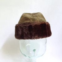 Corduroy Fur Cap - Army Green Hat - Furry Fuzzy Flip Brim - Mens Winter Fashion