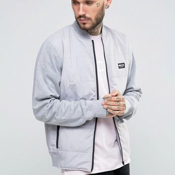 Nicce London Nylon Bomber Jacket With Padding And Jersey Sleeves at asos.com