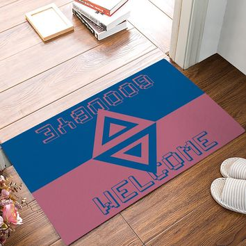 Dark Blue And Red Rectangle Triangle Welcome Goodbye Greetings Pattern Symmetry Door Mats Kitchen Floor Bath Entrance Rug