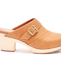BROWN LEATHER WOMEN'S ELISA CLOGS