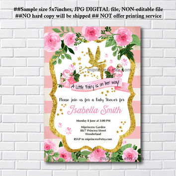 Fairy Baby Shower Invitation Baby birthday invite, fairy girl Shower Invite party Invitation, baby girl shower, - card 1127