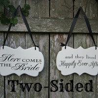 Two Sided Here Comes the Bride / and they lived Happily Ever After Wedding Sign, Wooden Flower Girl / Ring Bearer Sign