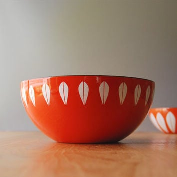 "EXCELLENT Cathrineholm 8"" Small Lotus Bowl in Orange"