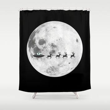 Alien christmas Shower Curtain by Tony Vazquez