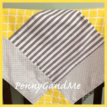 Personalized Yellow and Grey Baby Blanket ~ Grey and Yellow Baby Blanket