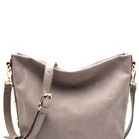 Sierra Gray Studded Side Crossbody Hobo Handbag