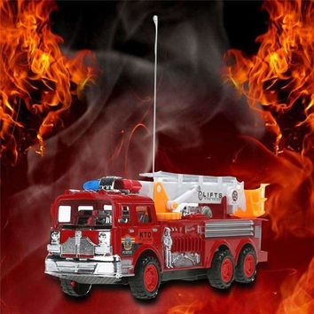 RC Fire Truck 2CH Remote Vehicle Motor-driven Fire Engine Fire Service Lifts Salvation Scaling Ladder with Original Box