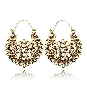 Tocona Vintage Antique Gold Silver Black Flower Metal Hoop Earrings Punk Alloy Earring Brincos for Women Jewelry 5674