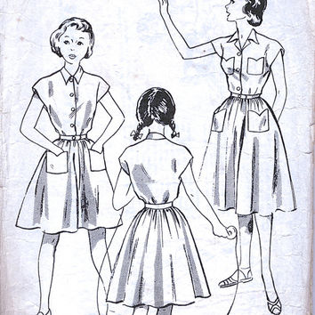 Le Roy Pattern 2010 - Shirt Dress - Shirtwaister - 50's Dress Pattern - Girl Children - 1950's Vintage Sewing Pattern - Bust 28""