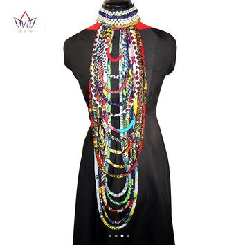 BRW African Ankara Necklace Wax Print Fabric Colorful Necklace Shawl African Ankara Handmade Necklace Tribal Jewelry WYB084