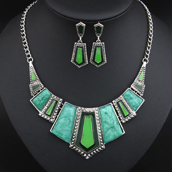 Jewelry Sets For Women Artifical Stone Enamel Necklace Earrings Sets Four Colors Statement Necklace Fashion Jewellery Set