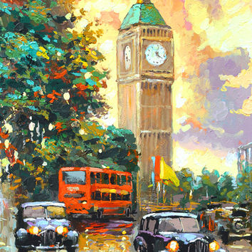 SALE Evening London 2 - Original oil painting on canvas by Dmitry Spiros.  Size: 24 x 32 in (60 x 80 cm)