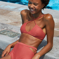 Aerie Wrappy Strappy Bikini Top , Brick Red