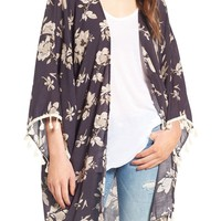 David & Young Tassel Floral Ruana | Nordstrom