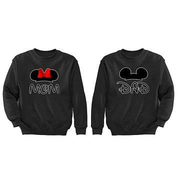 XtraFly Apparel Mom Dad Mommy Daddy Valentine's Matching Couples Pullover Crewneck-Sweatshirt
