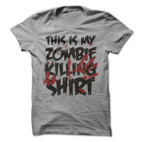 Zombie Tshirt This Is My Zombie Killing Shirt Tee  Halloween Shirts Mens Womens Unisex Shirts