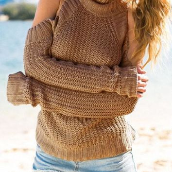 Khaki Plain Cut Out Off-shoulder High Neck Casual Pullover Sweater