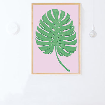 Monstera Deliciosa Print- Instant Download-Printable Tropical Leaf Wall Art-Topical Leaf Print-24x36-printable women gift-downloadable gift