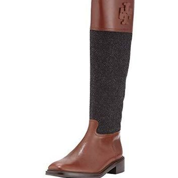 48982d22fd39 Tory Burch Lowell 2 Logo Riding Boot Flannel Women s Shoes