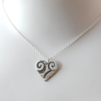 PMC Fine Silver Stylized Heart Necklace - PMC Fine Silver Jewelry - Silver Heart Necklace - Sweetheart Jewelry - Gifts For Her