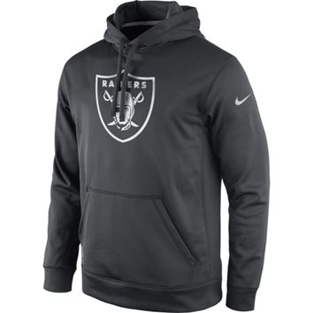 Mens Oakland Raiders Nike Anthracite KO Platinum Performance Pullover Hoodie