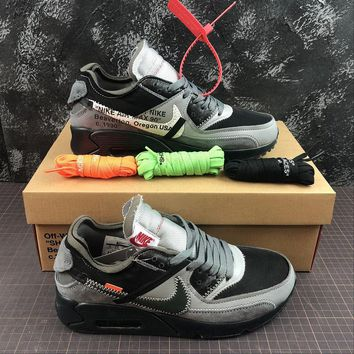 THE 10: OFF White x Nike Air Max 90 Black Grey Sport Running Shoes - Best Online Sale