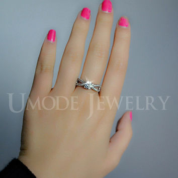 UMODE Wave Band Design Tiny CZ Pave 0.75ct Anelli Donna Bijoux Engagement Finger Rings for Women UR0023