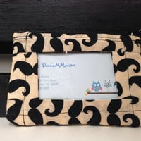 ID Wallet, Coin Purse, Zipper Closure, Made With Mustache print